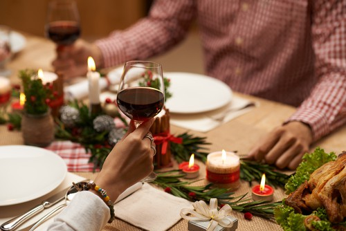 holiday wine toasting